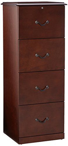 This four drawer vertical file cabinet features real wood veneer in a cherry finish and antique brass handles. File drawer accommodates letter size hanging files while the full extension glides allow for easy filing. Includes lock for security. Ideal for any home and/or office. Relaunch - WP... more details available at https://furniture.bestselleroutlets.com/home-office-furniture/file-cabinets/vertical-file-cabinets/product-review-for-z-line-designs-4-drawer-vertical-file-ca