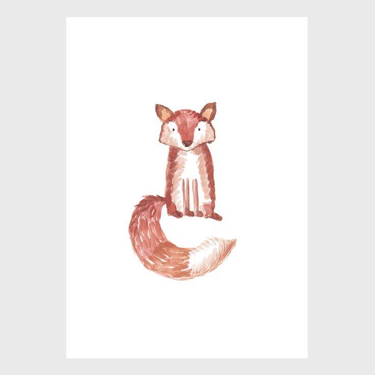 Lone Fox - Sarah Jager Design #fox #watercolorpainting