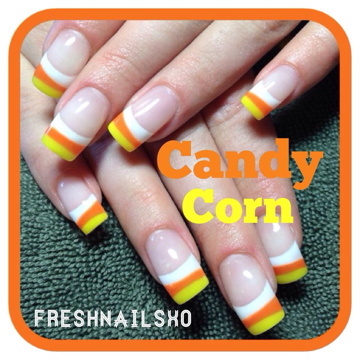 Candy corn nails; More Halloween Ideas & Inspiration at http://www.whisper2ascream.com
