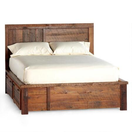 PARK CITY PLATFORM BED - Enjoy contemporary design and rustic charm in our barnwood platform bed with drawers, as remarkable as it is useful.