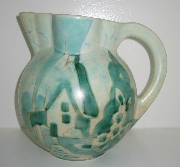 Art Deco Beswick Studio Pottery THATCHED COTTAGE 7.5 inch jug Mid Century Modern