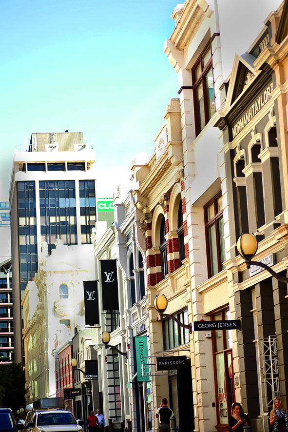 King Street in Perth's 'West End' specialises mainly in designer fashion stores such as Louis Vuitton, Gucci, Prada, Chanel, Bally and Yves Saint Laurent.