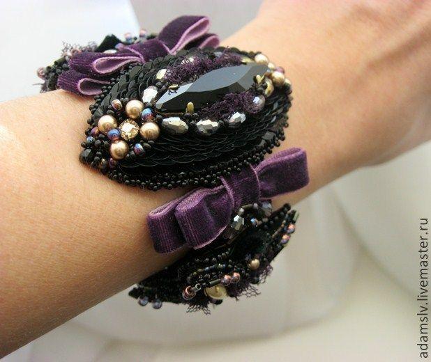 """Купить Браслет из бисера """"Velvet"""" - браслет, браслет из бисера, вышитый браслет, чёрный браслет"""