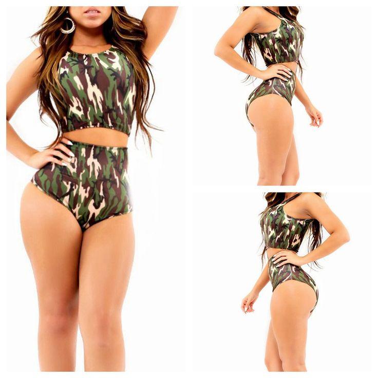 Aliexpress.com: Wow-Yeah Garment Co.,Ltd.より信頼できる 水着緑 サプライヤから2015新しい カモ ビキニストラップレス水着スーツ女性biquinis セクシー highwaisted ショーツ作物トップ アニメ水着を購入します