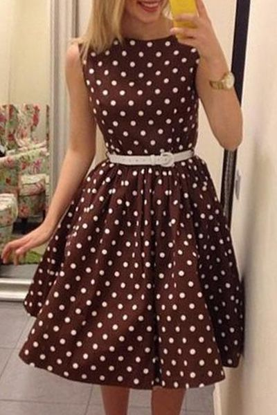 ADORABLE! Brown Dress with White Polka Dots!