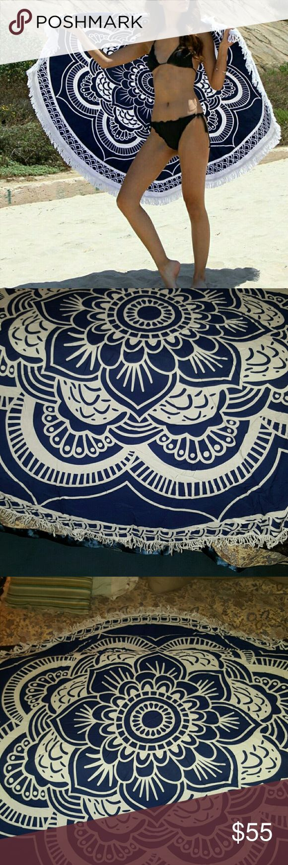 """TRENDING! ROUND BEACH COVER. (Up) SHAWL Gorgeous Navy Blue and White with Fringe BOHO Chic Beach Cover, Ground Tanning, Picnic Cover. 55 """" WIDTH AND LENGTH. Beautifully soft Cotton POLY Blend, quick dry material. COVER UP IN STYLE, FOLD IN HALF AND WEAR AS A SHAWL. Can also be used on furniture, a bed deco or wall hanging. FASHION Swim Coverups"""