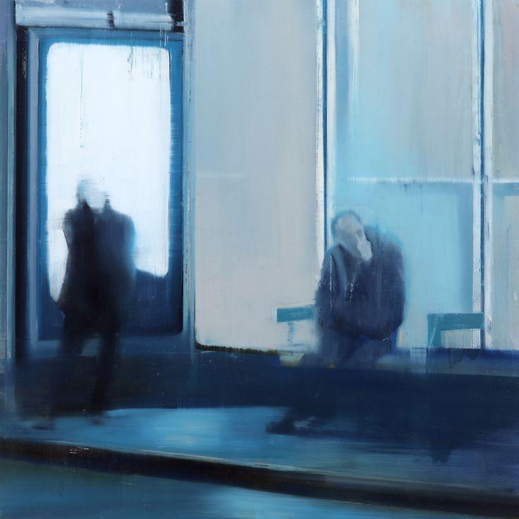"Brett Amory. Waiting #131, 2012. Oil on wood, 30 x 30"".    On Tumblr: http://brettamory.tumblr.com/"