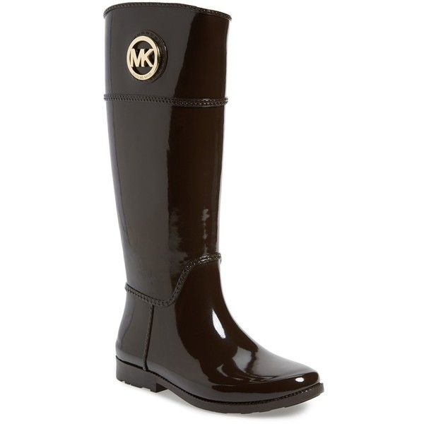 """MICHAEL Michael Kors 'Stockard' Rain Boot, 1"""" heel (165 CAD) ❤ liked on Polyvore featuring shoes, boots, dark chocolate, knee-high boots, rain boots, chocolate brown boots, low heel knee high boots, rubber sole boots y knee high boots"""