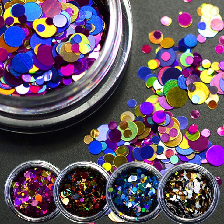 Buy 1g NEW Shining Round Shape Nail Glitter Powder Dust 3D Nail Art Decorations Nail Art Bottle Tip Stickers DIY Tools P01-08 at JacLauren.com