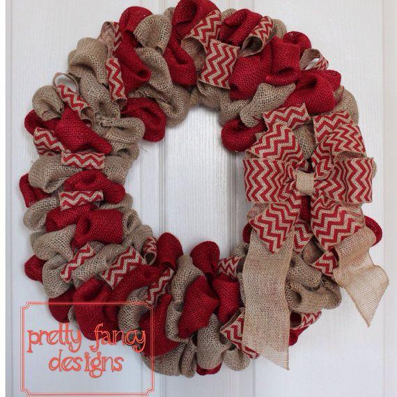 Fall Burlap Wreath w Bow, Burlap Wreath, Bubble Wreath, Red Wreath on Etsy, $67.00