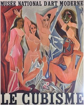 Le Cubisme retrospective poster featuring Picasso's Les Demoiselles d'Avignon by PrairieModernArts