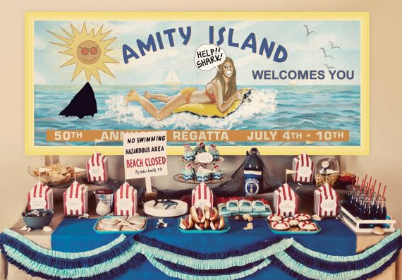 INSTANT DOWNLOAD PARTY - CUSTOM TEXT NOT INCLUDED This festive summer beach party is perfect for a Pool Party, Jaws or Shark Attack Party, or just a fun day at the Beach! Duh-nuh, duh-nuh, duh-nuh, duh-nuh! SHARK!!! This listing is for one digital (PDF) printable file of the Jaws /