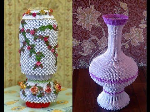 Модульное оригами напольная ваза
