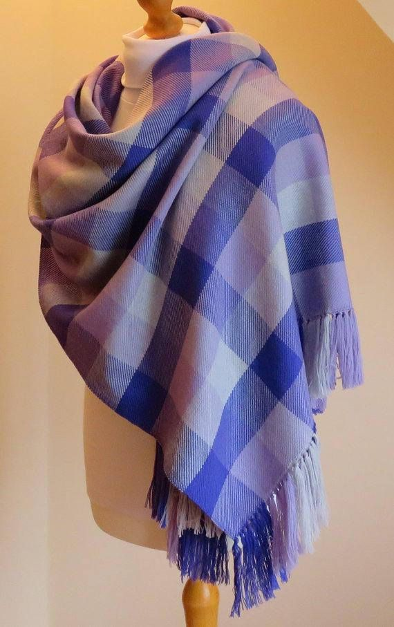 feb527568 Made to Order Hand Woven Blanket Scarf, Oversize Scarf, Purple, Lilac and  Silver