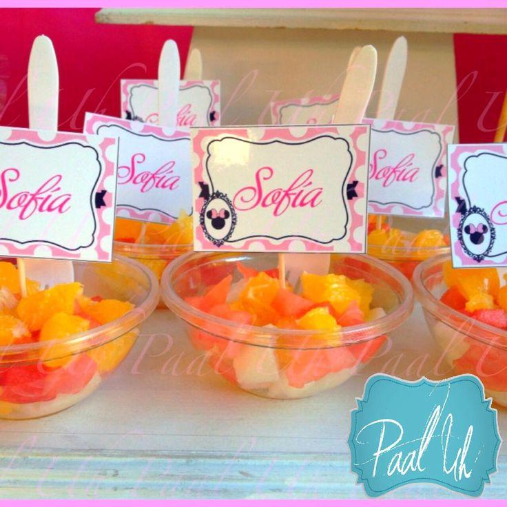 Paal uh mesa de postres snacks minnie mouse pink for Decoracion de frutas para fiestas infantiles