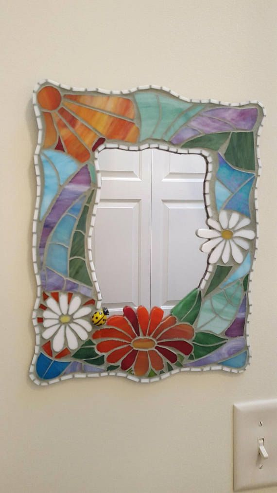 Stained glass mosaic mirror 11 x 14 in