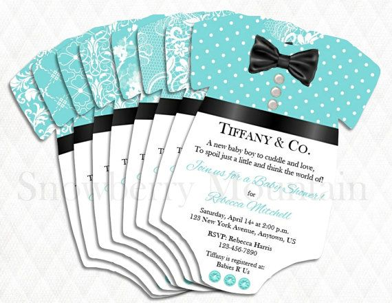Tiffany U0026 Co. Inspired LACE BOY Onesie Die Cut Baby Shower Invitations  8  Choices