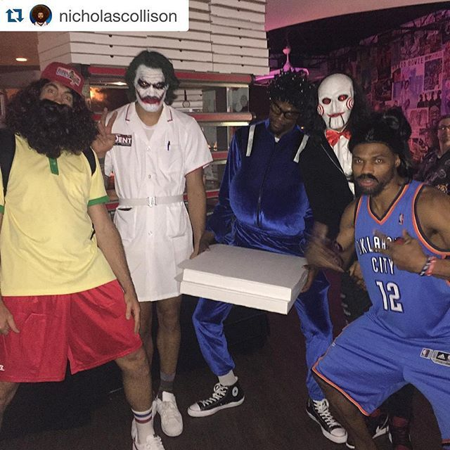 The Oklahoma City Thunder are better at Halloween than you.  From left to right: Nick Collison, Steven Adams, Kevin Durant, Andre Roberson, Russell Westbrook. (via @nicholascollison)