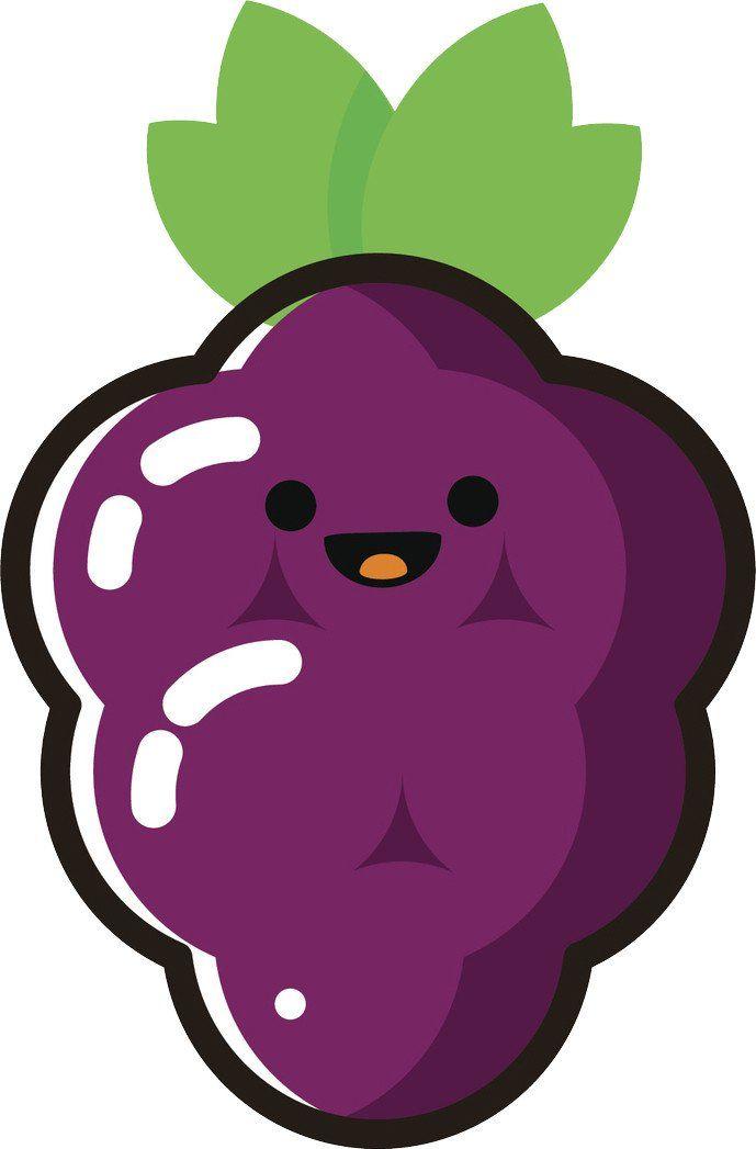 Happy Cute Kawaii Fruit Cartoon Emoji Grapes Vinyl Decal