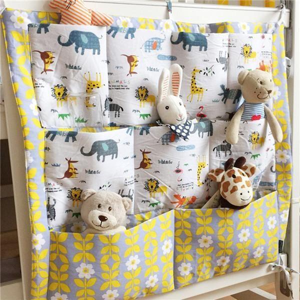 Muslin Baby Cot Bed Hanging Storage Bag Crib Organizer 60x55cm Cartoon Printed Toy Diaper Pocket Infant Kids Crib Bedding Set