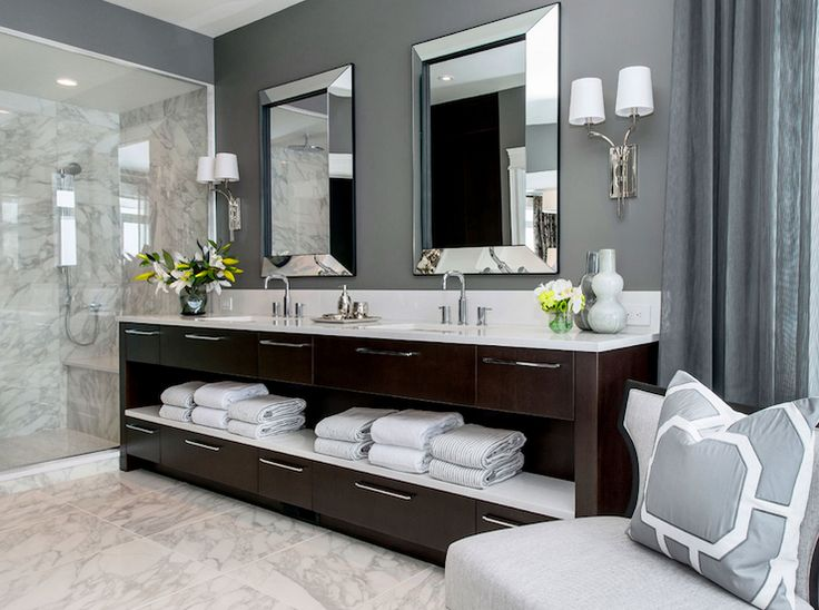 Atmosphere Interior Design   Bathrooms   Gray Walls, Gray Wall Color,  Marble Floor Tile