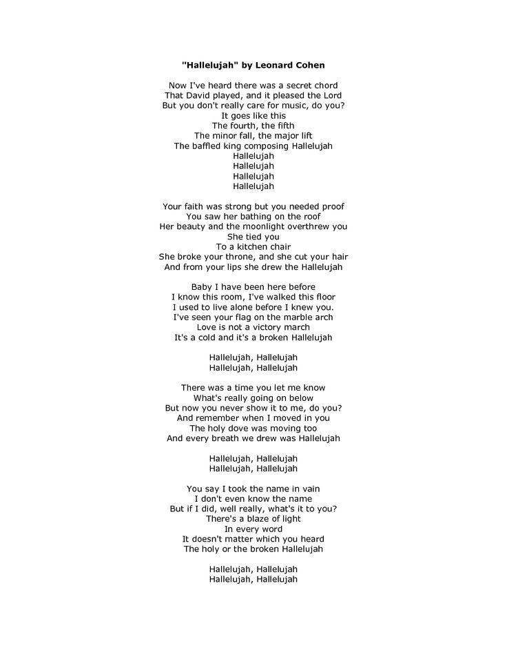 Lyrics: Hallelujah Lyrics - Google Search