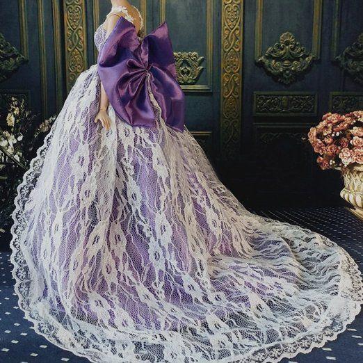 OurKosmos® Splendida partito Handmade abito Vestiti & abiti da sposa accessori bambola Barbie Doll-1PCS (viola)