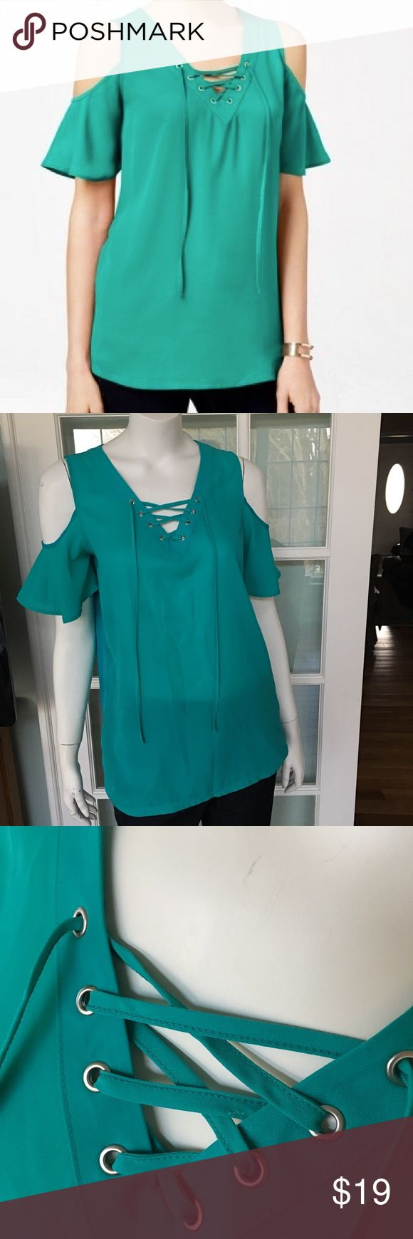 NEW INC cold shoulder teal green short sleeve top New with tags. Polyester front. Knit back. Modeled on a size 6 mannequin. Come visit my closet for great bundling items! All new with tags!  Size medium. Retail $59.50. INC International Concepts Tops Blouses