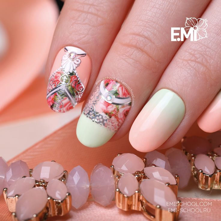 Peach roses are always opportune  To create this design, please take E.MiLac Coralline #086 and Fitness Green #084 from the collection Sport Chic, Naildress Slider Design Peach Roses, Charmicon Stickers Lunula Mix #6»  All the shades for the collection Sport Chic are available by following this link http://emischool.com/catalog/#collection_sport_chic  Персиковые розы всегда кстати  Чтобы создать этот дизайн, возьмите E.MiLac 086 «Кэролайн» и 084 «Фитнес грин» из коллекции «Спорт шик»,