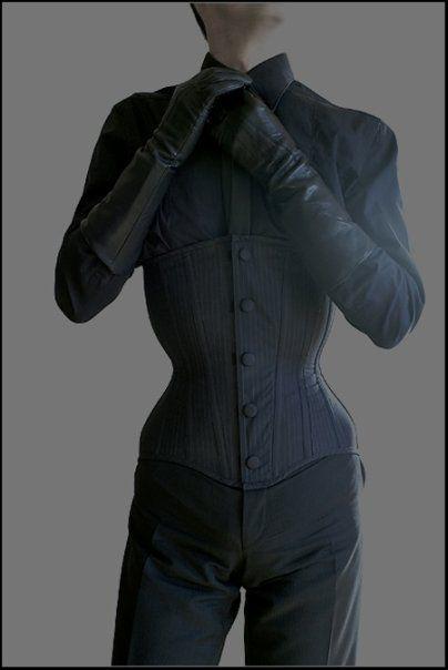 idea of male corset & return to hourglass silhouette ('dandy' era)