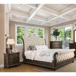 Furniture of America Brigette III Traditional 3-piece Ornate Rustic Sleigh Bedroom Set