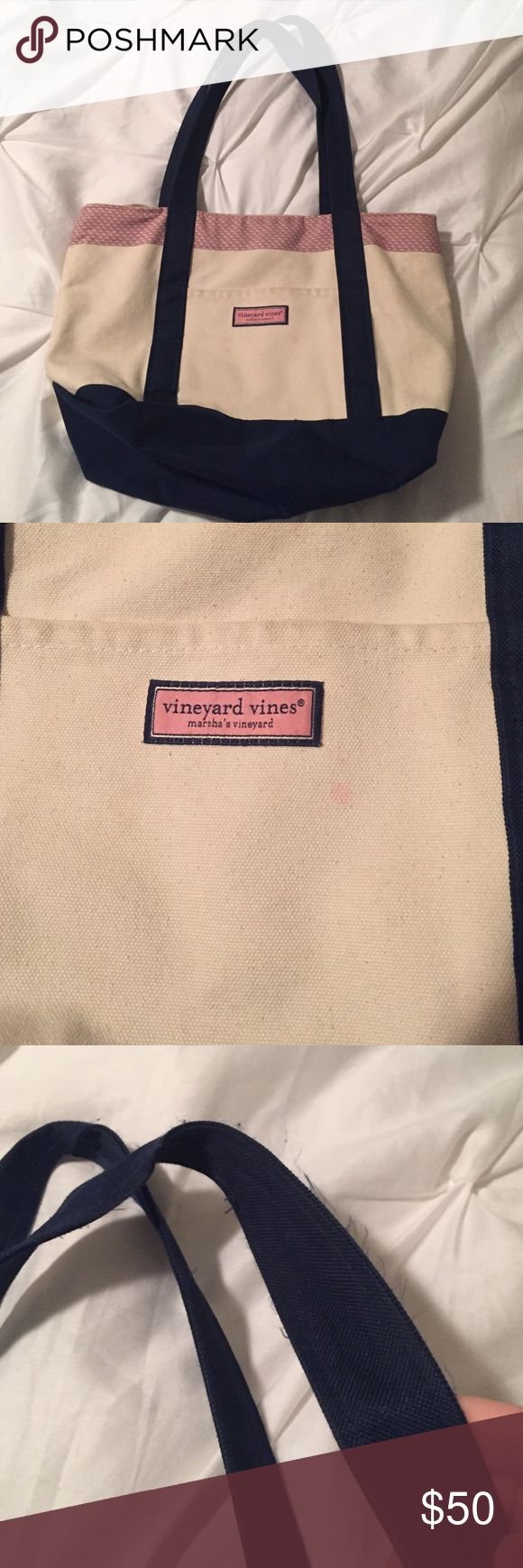 """Vineyard Vines Classic Whale Tote Vineyard Vines tote with a few signs of wear as pictured. There is a small barely noticeable pink mark on the front of the bag, slight fraying around the handles and zipper and a couple of barely noticeable marks inside the bag. Dimensions: 12"""" H x 18"""" W x 6"""" D Vineyard Vines Bags Totes"""