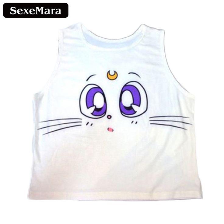 SexeMara Crop Top Summer Women Tanks Camis White Neck Vest #women, #men, #hats, #watches, #belts, #fashion, #style