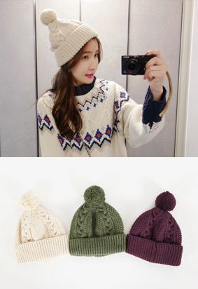 Mix Pattern Knit Beanie with Bobble
