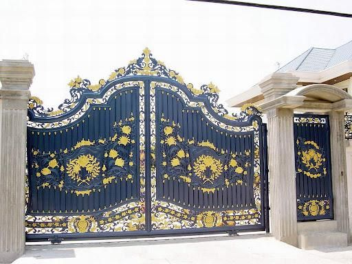 Decoration, The Pulchritudinous Front Gate Designs With Black Domination  Colour And A Golden Touch:
