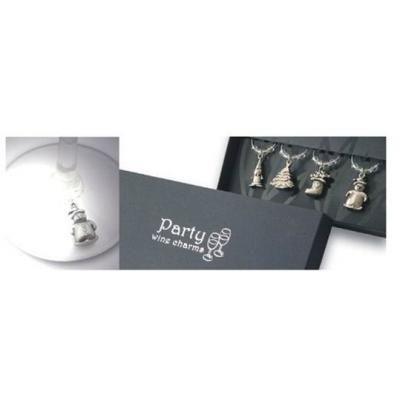 Picture of Christmas Metal Wine Charms Set Of 6