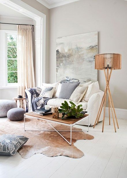 Pale and interesting scheme in a striking living space - Home Beautiful