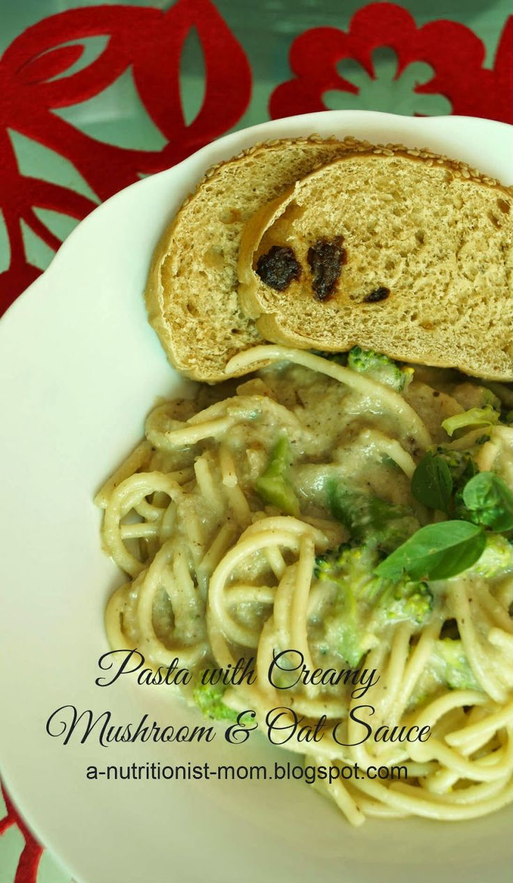 Journal of a nutritionist mom : Pasta with creamy mushroom and oat sauce (5 ingredients pasta sauce)
