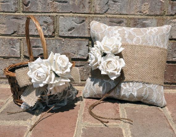 Burlap and Lace Ring Bearer Pillow & Flower Girl Basket - Rustic Ring Bearer…