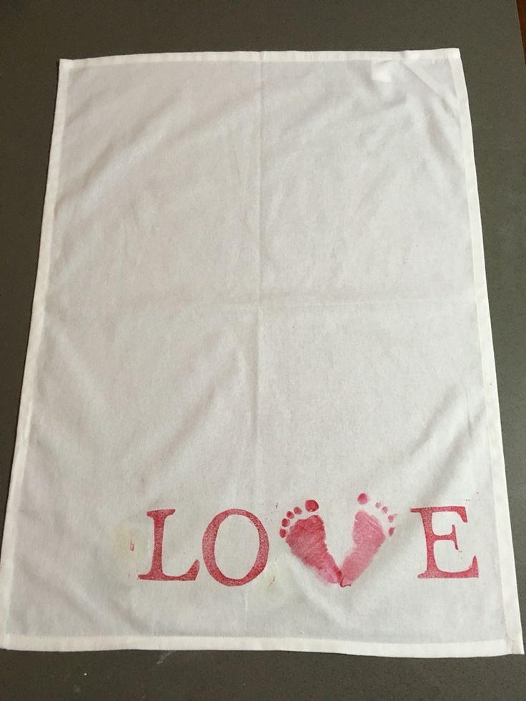 Personalised hand printed tea towel  #popupartparty