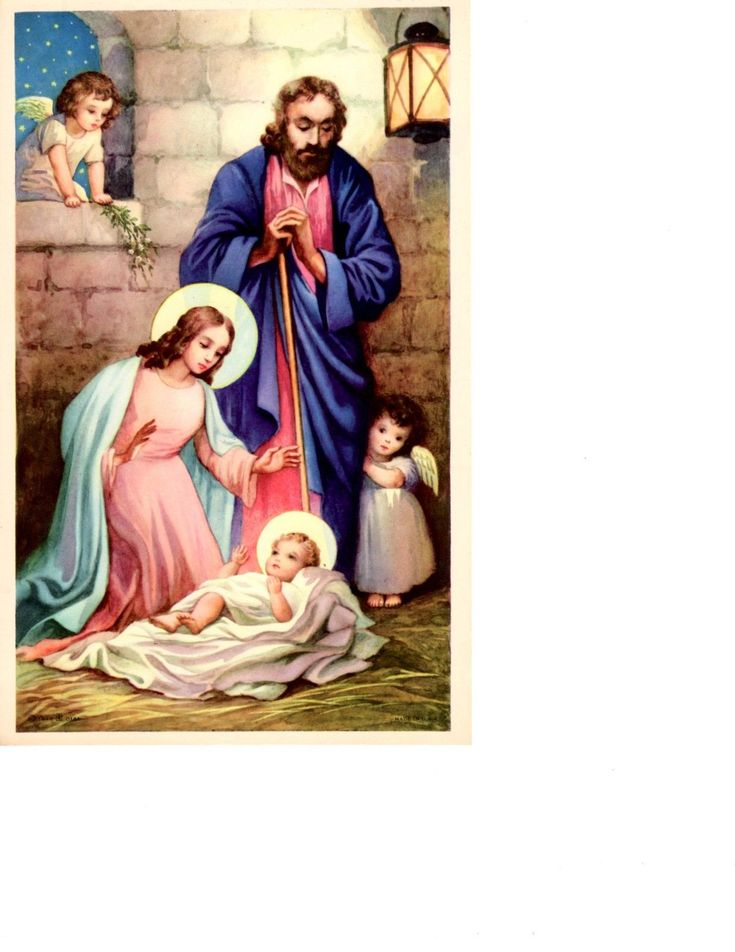 "Nativity Scene Print 5.5"" x 8.25"" Made in 1940 USA FOR SALE • $1.95 • See Photos! Money Back Guarantee. Print of Nativity scene. Mary is kneeling beside baby Jesus in a swaddling cloth while Joseph stands overhead and two small angels watch. 5 and a half inches wide by 170892240020"