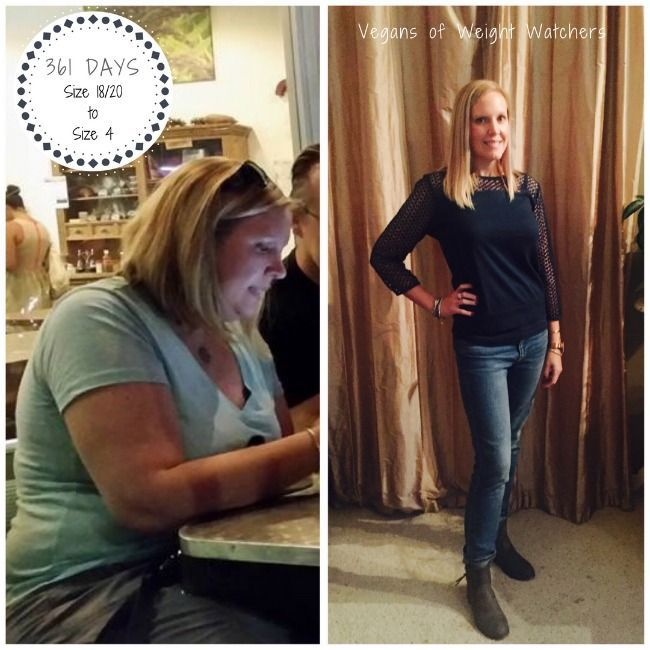 Vegan Weight Watcher Lori Manby shares how she lost 75 pounds, going from a size 18/20 to a size 4 in just 361 days following the program