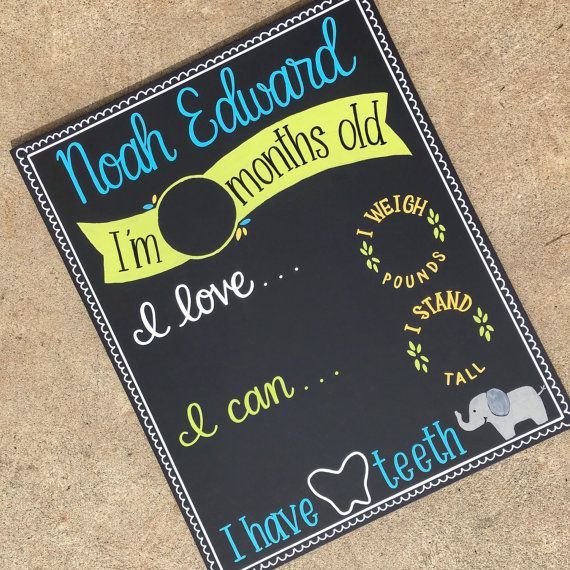 Monthly Chalkboard Sign / Newborn Monthly Photo Prop / Reusable Chalkboard