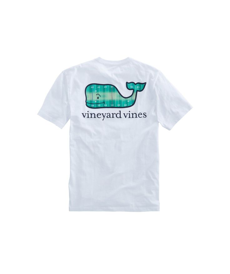 Vineyard Vines, Football Field Whale Fill Pocket T-Shirt, White Cap