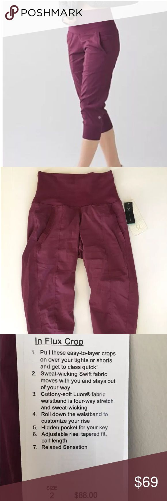 New Lululemon In Flux Crop red grape pants size 2 New Lululemon In Flux Crop red grape pants, size 2 lululemon athletica Pants Capris