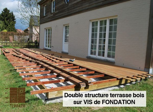 la vis de fondation krinner remplace les plots en b ton terrasse en bois r alis e sur vis de. Black Bedroom Furniture Sets. Home Design Ideas