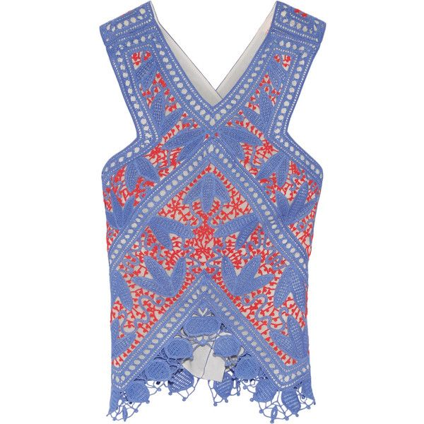 Tory Burch Evie crocheted lace top ($255) ❤ liked on Polyvore featuring tops, blue, surplice top, crochet lace top, blue top, cross over top and asymmetrical hem top