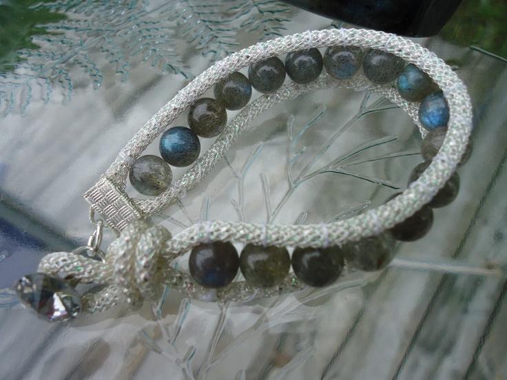 Labradorite Swarovski SilverSilk Wrap Bracelet by noelglass, $60.00
