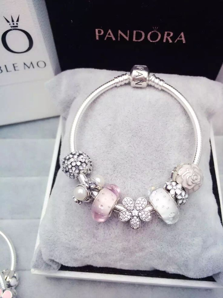 50% OFF!!! $199 Pandora Charm Bracelet White Pink Flower. Hot Sale!!! SKU: CB01583 - PANDORA Bracelet Ideas