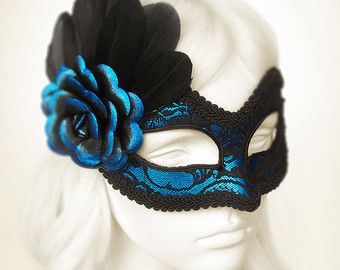 Metallic Blue & Black Lace Masquerade masker - Venetiaanse masker met veren en Rose blauw - Blue Lace gemaskerd bal masker - Black Lace masker